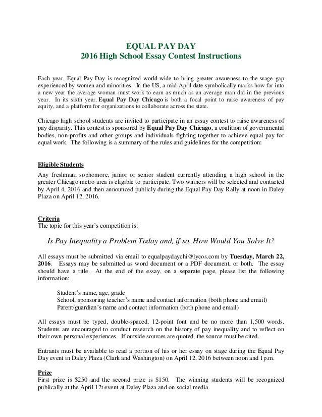 equal pay day essay contest  equal pay day 2016 high school essay contest instructions each year equal pay day is