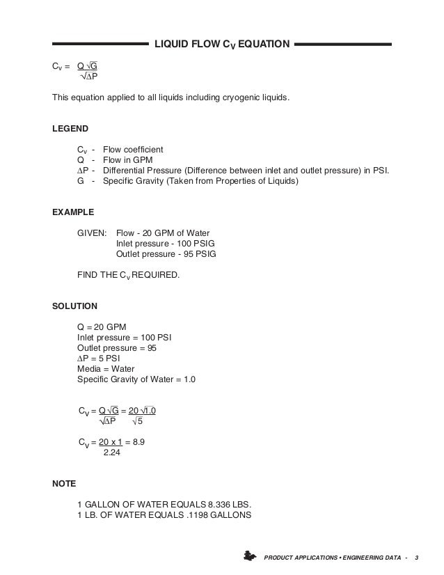 PRODUCT APPLICATIONS • ENGINEERING DATA - 3 LIQUID FLOW CV EQUATION Cv = Q G ∆P This equation applied to all liquids inclu...