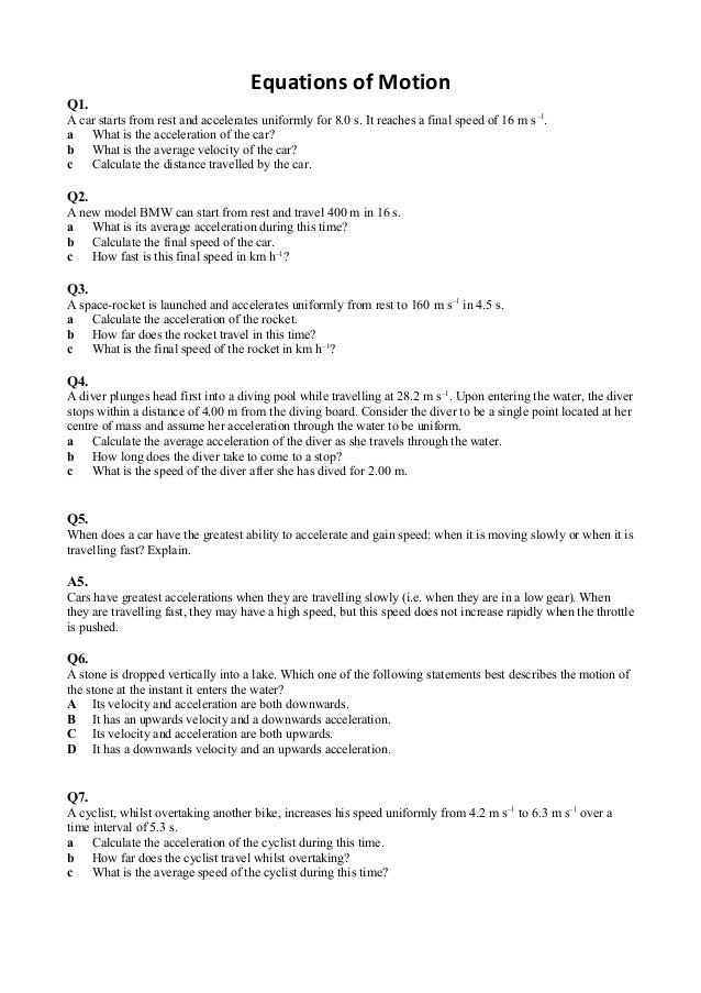 Equations of motion worksheet – Motion Worksheet