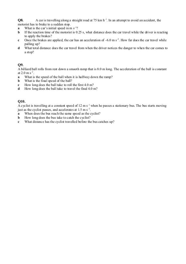 Equations of motion worksheet – Motion and Speed Worksheet