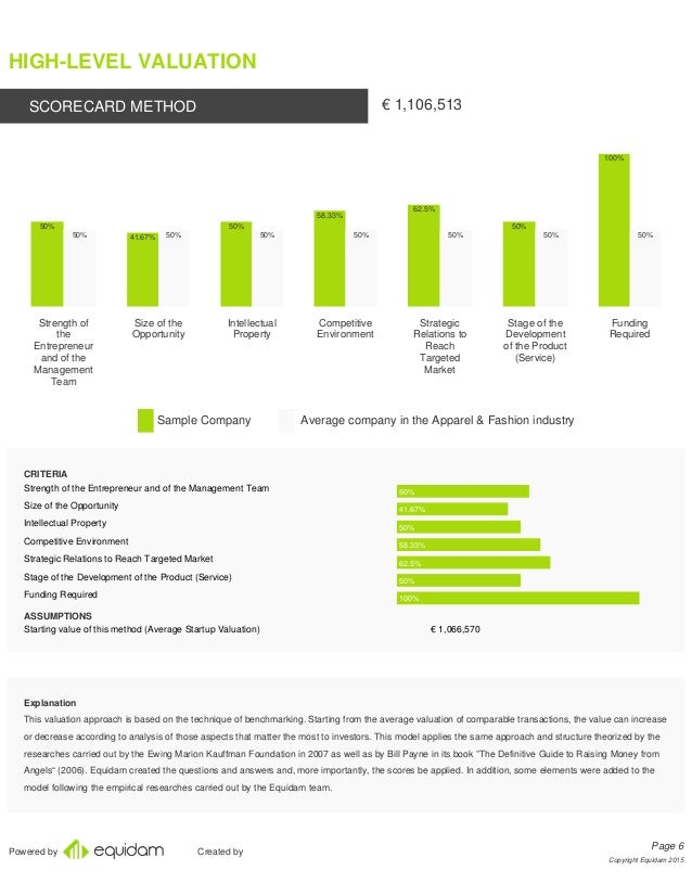Company valuation report sample
