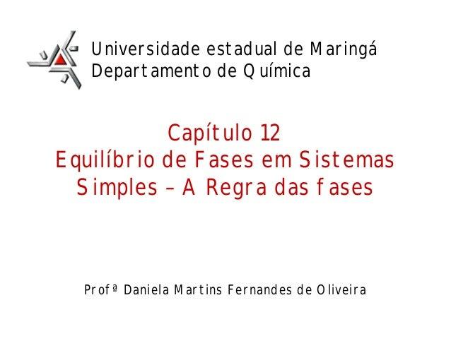 Capítulo 12 Equilíbrio de Fases em Sistemas Simples – A Regra das fases Profª Daniela Martins Fernandes de Oliveira Univer...
