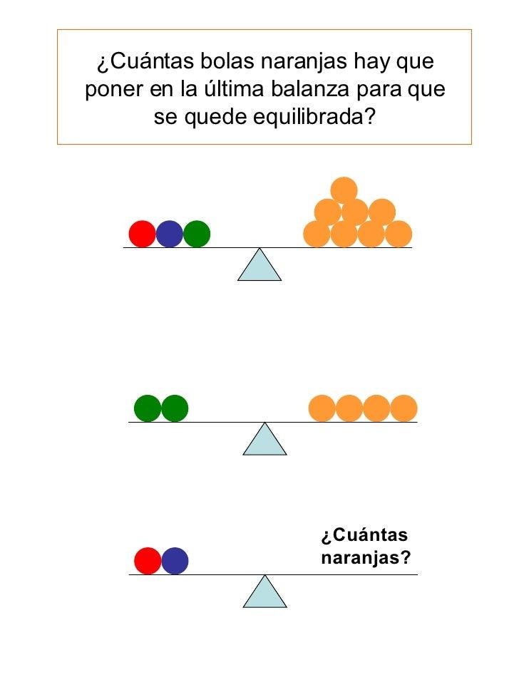 ¿Cuántas naranjas? ¿Cuántas bolas naranjas hay que poner en la última balanza para que se quede equilibrada?