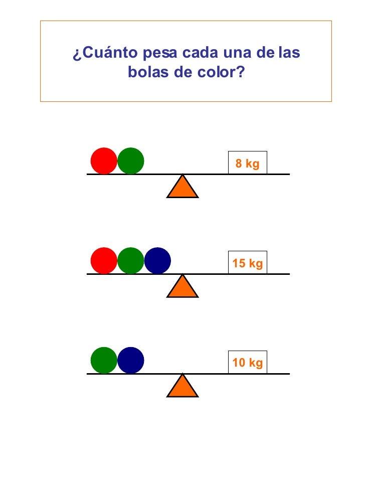 ¿Cuánto pesa cada una de las bolas de color? 8 kg 15 kg 10 kg