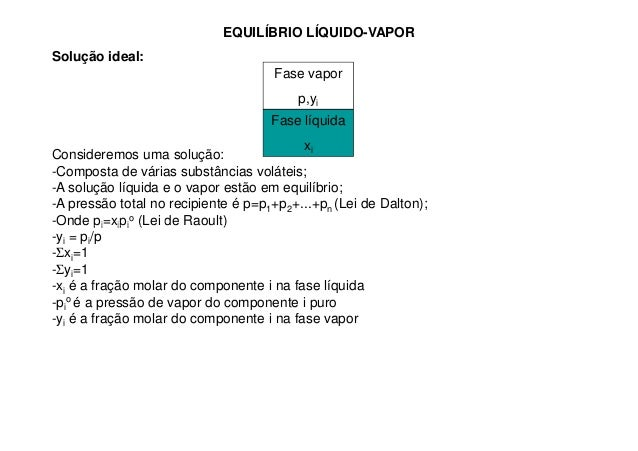 EQUILÍBRIO LÍQUIDO-VAPOR Solução ideal: Consideremos uma solução: -Composta de várias substâncias voláteis; -A solução líq...