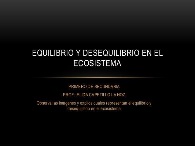 EQUILIBRIO Y DESEQUILIBRIO EN EL ECOSISTEMA PRIMERO DE SECUNDARIA PROF.: ELIDA CAPETILLO LA HOZ Observa las imágenes y exp...
