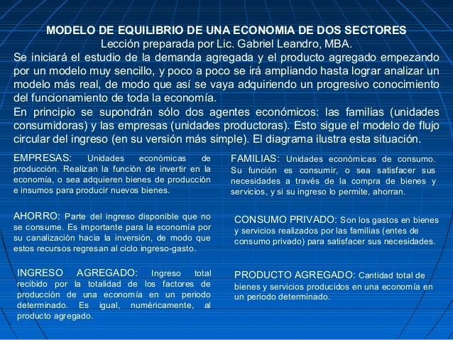 MODELO DE EQUILIBRIO DE UNA ECONOMIA DE DOS SECTORES Lección preparada por Lic. Gabriel Leandro, MBA. Se iniciará el estud...