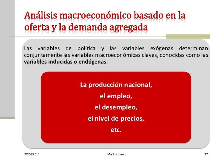 Las variables de política y las variables exógenas determinanconjuntamente las variables macroeconómicas claves, conocidas...