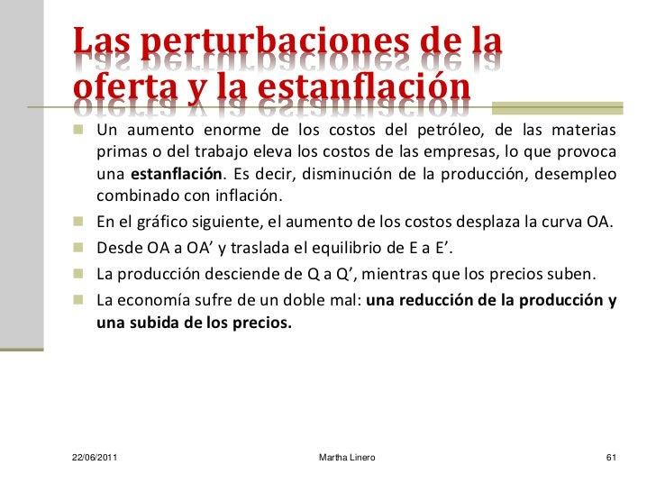 Las perturbaciones de laoferta y la estanflación Un aumento enorme de los costos del petróleo, de las materias     primas...