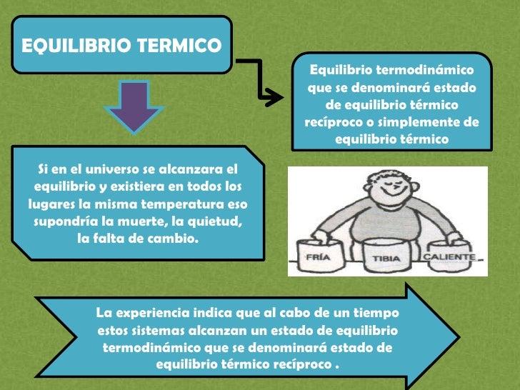 EQUILIBRIO TERMICO<br />Equilibrio termodinámico que se denominará estado de equilibrio térmico recíproco o simplemente de...