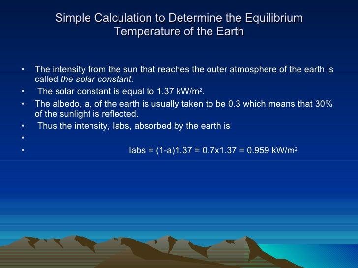 Equilibrium Temperature Of The Earth