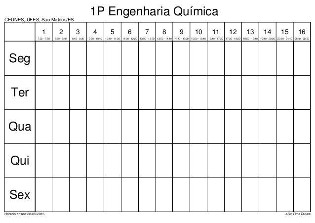 CEUNES, UFES, São Mateus/ES Horário criado:28/05/2015 aSc TimeTables Seg Ter Qua Qui Sex 1 7:00 - 7:50 2 7:50 - 8:40 3 8:4...