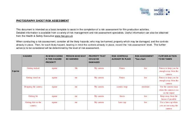 Equine Shoot Risk Assessment Form