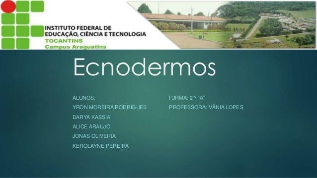"Ecnodermos  ALUNOS: TURMA: 2 º ""A""  YRON MOREIRA RODRIGUES PROFESSORA: VÂNIA LOPES  DARYA KASSIA  ALICE ARAUJO  JONAS OLIV..."