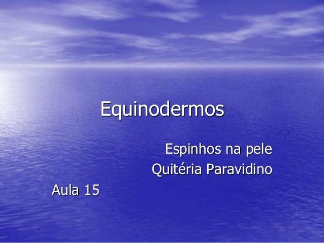 Equinodermos Espinhos na pele Quitéria Paravidino Aula 15