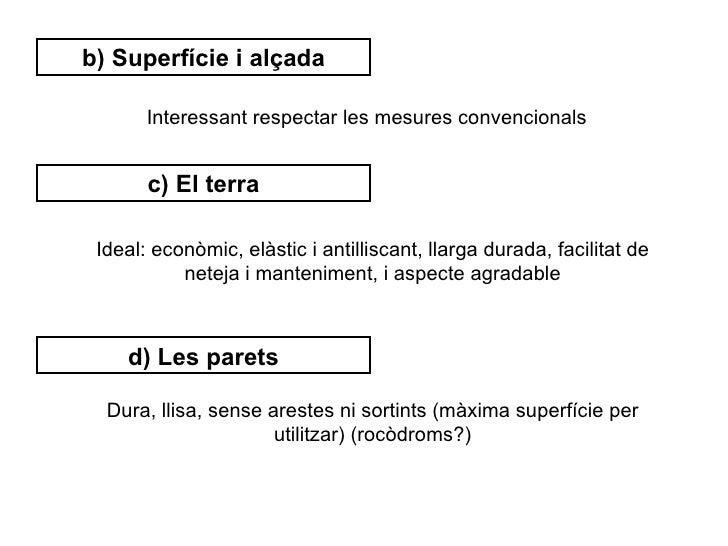 b) Superfície i alçada       Interessant respectar les mesures convencionals       c) El terra Ideal: econòmic, elàstic i ...