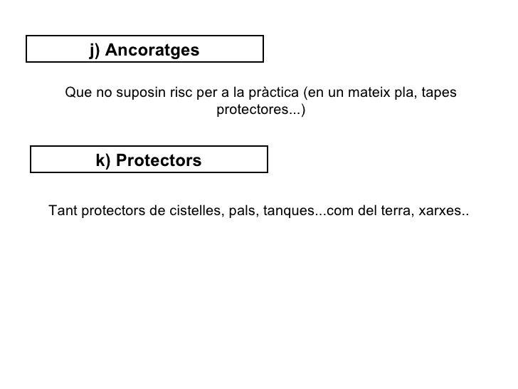 j) Ancoratges  Que no suposin risc per a la pràctica (en un mateix pla, tapes                         protectores...)     ...