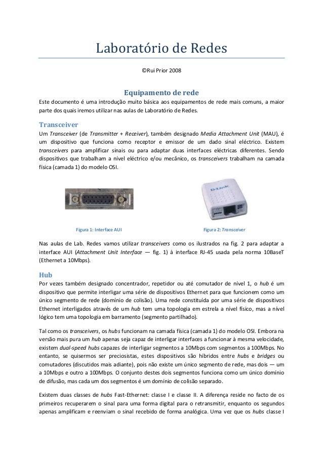 Laboratório de Redes ©Rui Prior 2008 Equipamento de rede Este documento é uma introdução muito básica aos equipamentos de ...