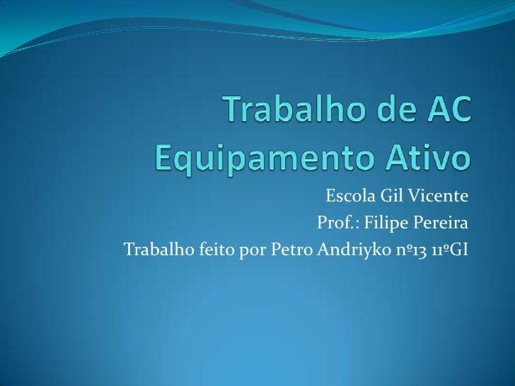 Escola Gil Vicente                         Prof.: Filipe PereiraTrabalho feito por Petro Andriyko nº13 11ºGI