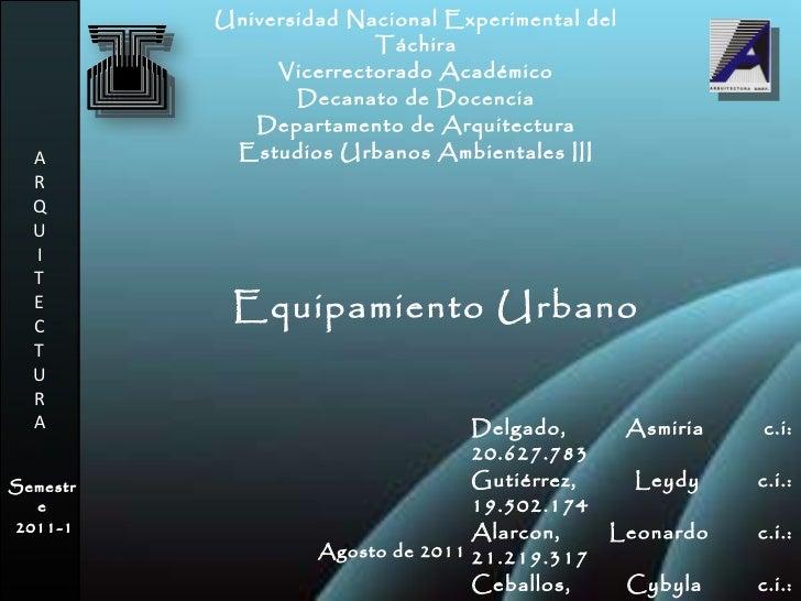 Equipamiento urbano presentaci n for Equipamiento urbano arquitectura pdf