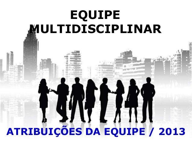 EQUIPEMULTIDISCIPLINARATRIBUIÇÕES DA EQUIPE / 2013