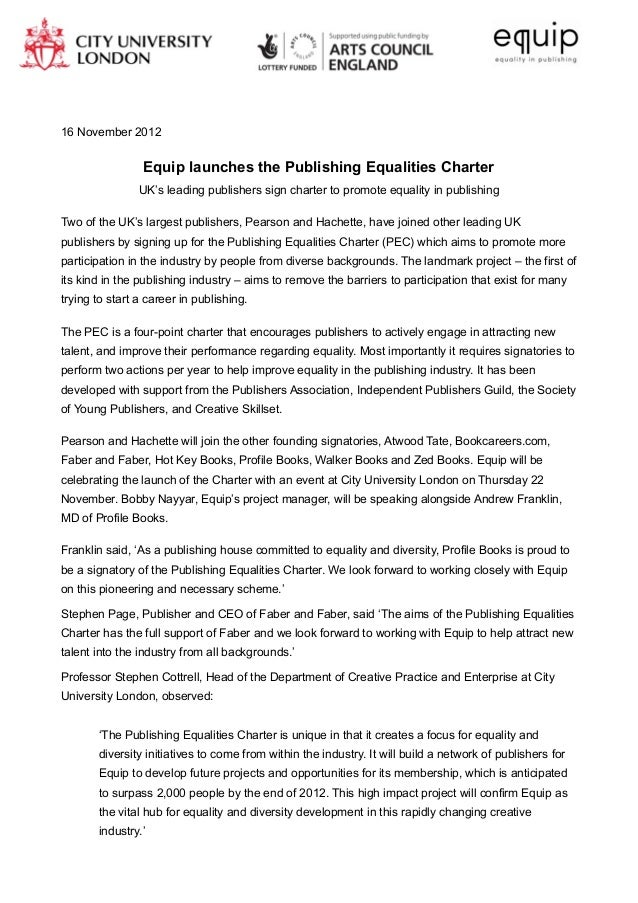 16 November 2012                 Equip launches the Publishing Equalities Charter                UK's leading publishers s...