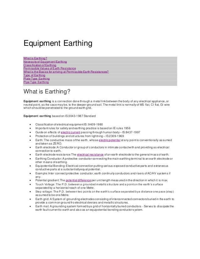 Equipment earthing