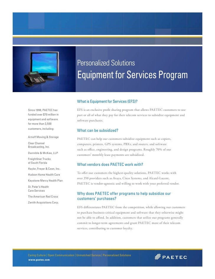 Personalized Solutions                                       Equipment for Services Program                               ...