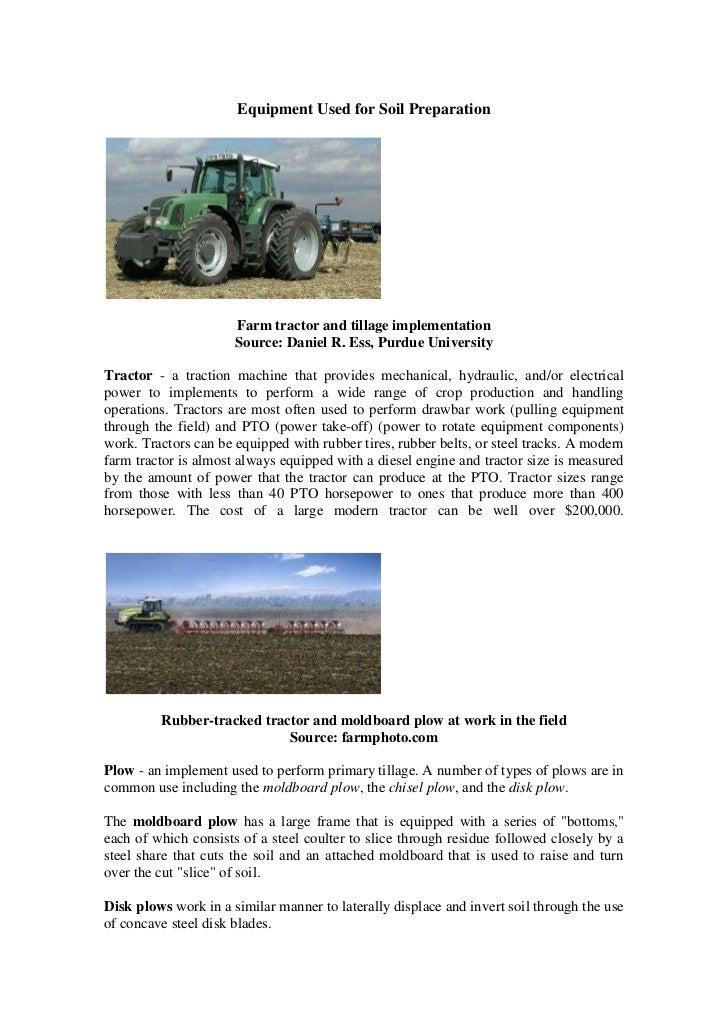 Equipment for soil preparation for Preparation of soil