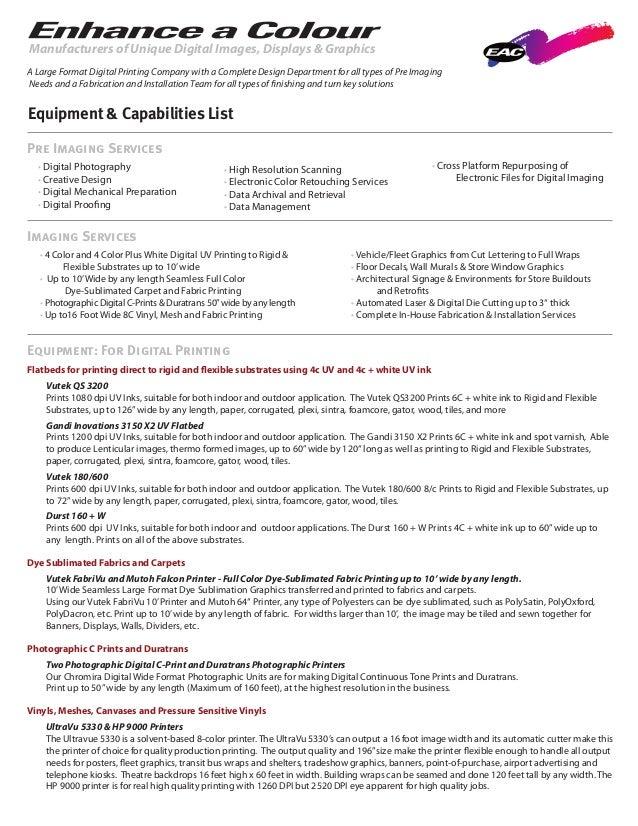 mechanical equipment list