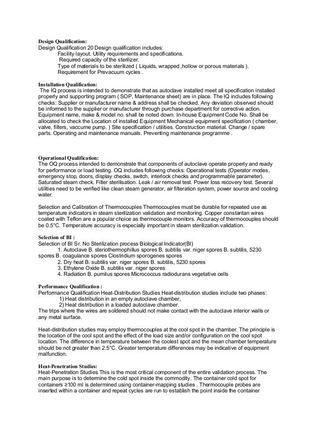 Equipment qualification validation of autoclave dry for Equipment installation qualification template