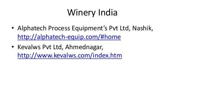 Equipment Suppliers Alcoholic Beverages