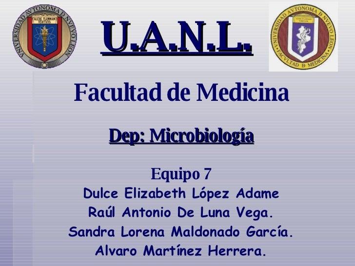 U.A.N.L. Facultad de Medicina Dep: Microbiología Equipo 7 Dulce Elizabeth López Adame Raúl Antonio De Luna Vega. Sandra Lo...