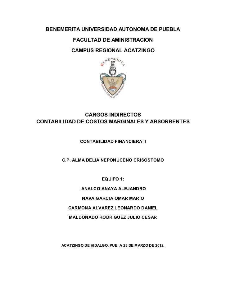 BENEMERITA UNIVERSIDAD AUTONOMA DE PUEBLA            FACULTAD DE AMINISTRACION           CAMPUS REGIONAL ACATZINGO        ...