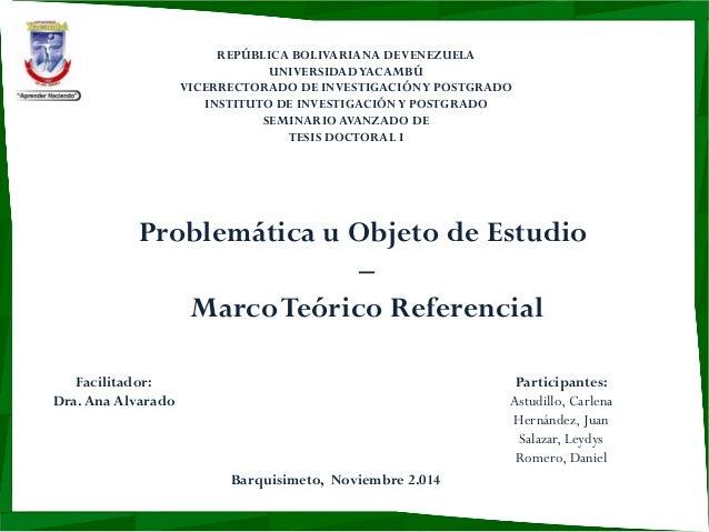 REPÚBLICA BOLIVARIANA DE VENEZUELA  UNIVERSIDAD YACAMBÚ  VICERRECTORADO DE INVESTIGACIÓN Y POSTGRADO  INSTITUTO DE INVESTI...