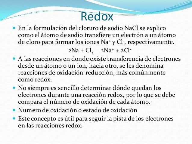 1. El número de oxidación de unelemento en estado libre escero. Así, el número deoxidación de Al, Zn, H2, O2 y P4es cero: ...