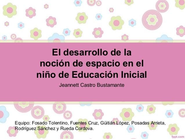 El desarrollo de la noción de espacio en el niño de Educación Inicial Jeannett Castro Bustamante Equipo: Fosado Tolentino,...