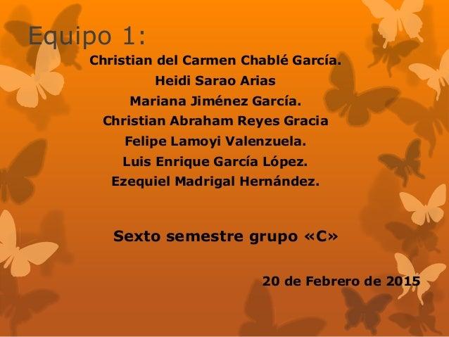 Equipo 1: Christian del Carmen Chablé García. Heidi Sarao Arias Mariana Jiménez García. Christian Abraham Reyes Gracia Fel...