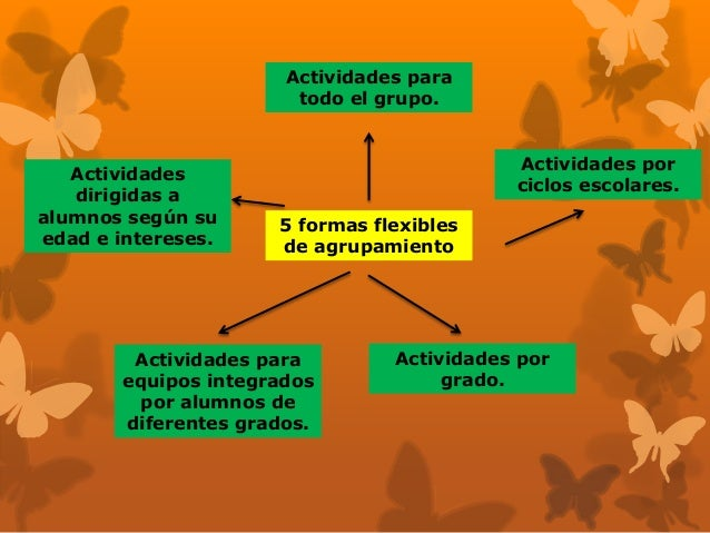 5 formas flexibles de agrupamiento Actividades para todo el grupo. Actividades por ciclos escolares. Actividades dirigidas...