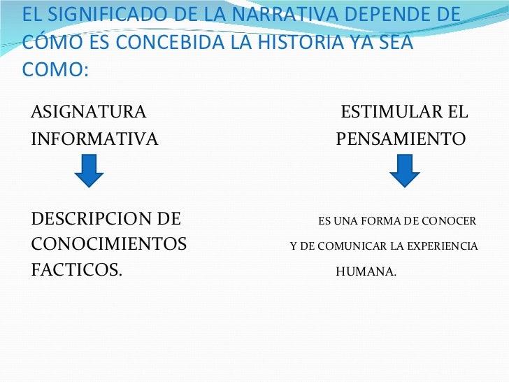 EL SIGNIFICADO DE LA NARRATIVA DEPENDE DE CÓMO ES CONCEBIDA LA HISTORIA YA SEA COMO: <ul><li>ASIGNATURA   ESTIMULAR EL  </...