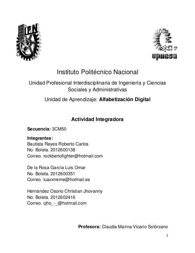 Instituto Politécnico Nacional Unidad Profesional Interdisciplinaria de Ingeniería y Ciencias Sociales y Administrativas U...
