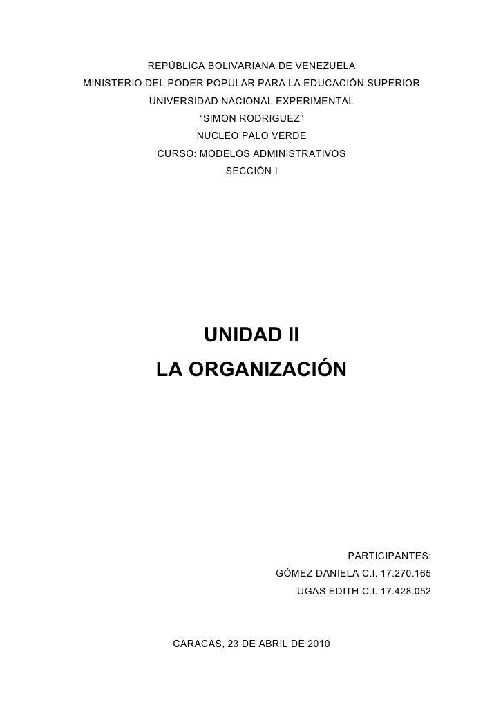 REPÚBLICA BOLIVARIANA DE VENEZUELA MINISTERIO DEL PODER POPULAR PARA LA EDUCACIÓN SUPERIOR           UNIVERSIDAD NACIONAL ...