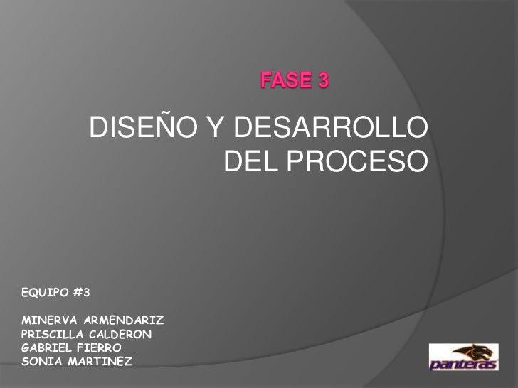 FASE 3<br />DISEÑO Y DESARROLLO DEL PROCESO<br />EQUIPO #3<br />MINERVA ARMENDARIZ<br />PRISCILLA CALDERON<br />GABRIEL FI...