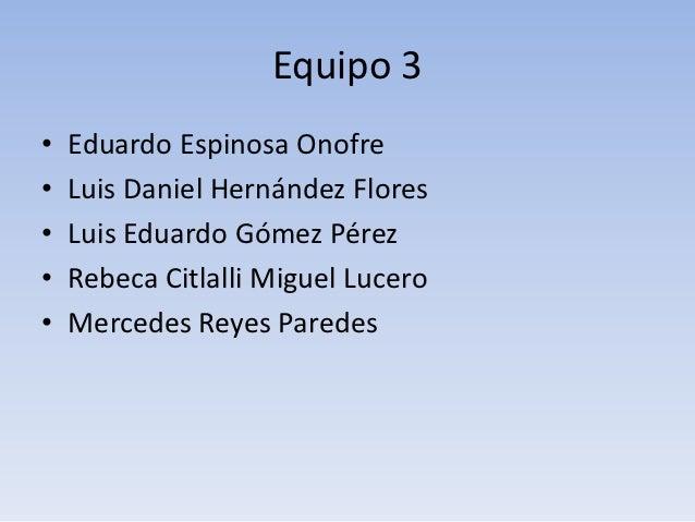 Equipo 3•   Eduardo Espinosa Onofre•   Luis Daniel Hernández Flores•   Luis Eduardo Gómez Pérez•   Rebeca Citlalli Miguel ...