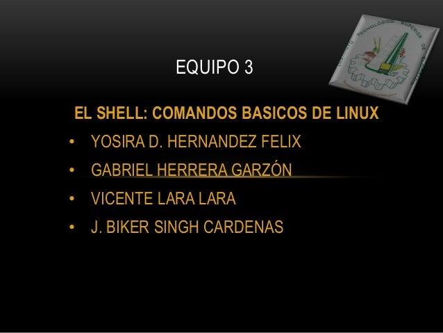 EL SHELL: COMANDOS BASICOS DE LINUX• YOSIRA D. HERNANDEZ FELIX• GABRIEL HERRERA GARZÓN• VICENTE LARA LARA• J. BIKER SINGH ...