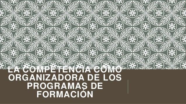 LA COMPETENCIA COMO ORGANIZADORA DE LOS PROGRAMAS DE FORMACIÓN