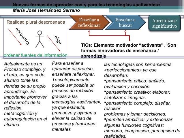 Nuevas formas de aprender con y para las tecnologías «activantes» María José Hernández Serrano Realidad plural desordenada...