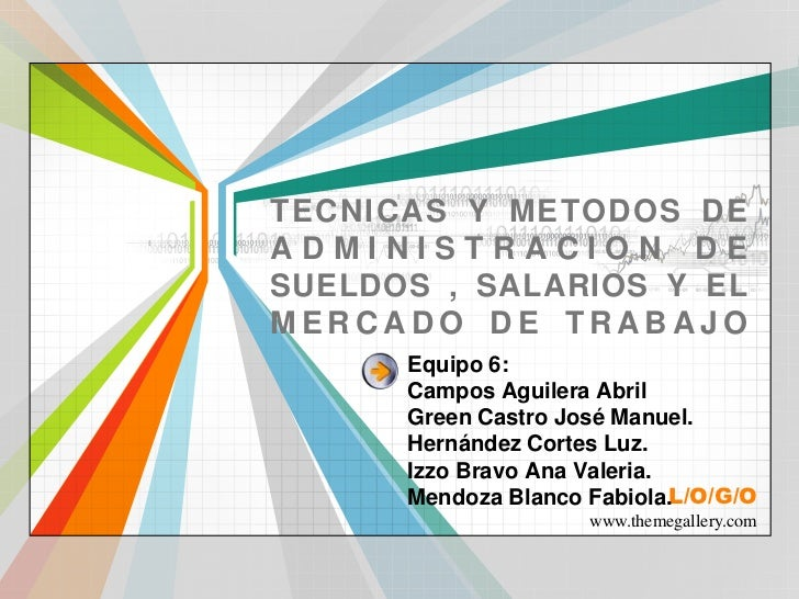 TECNICAS Y METODOS DE ADMINISTRACION DE SUELDOS , SALARIOS Y EL MERCADO DE TRABAJO<br />Equipo 6:Campos Aguilera AbrilGree...
