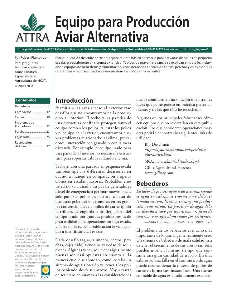 Equipo para Producción                                            Aviar Alternativa    Una publicación de ATTRA-Servicio N...