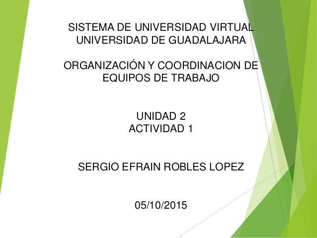 SISTEMA DE UNIVERSIDAD VIRTUAL UNIVERSIDAD DE GUADALAJARA ORGANIZACIÓN Y COORDINACION DE EQUIPOS DE TRABAJO UNIDAD 2 ACTIV...